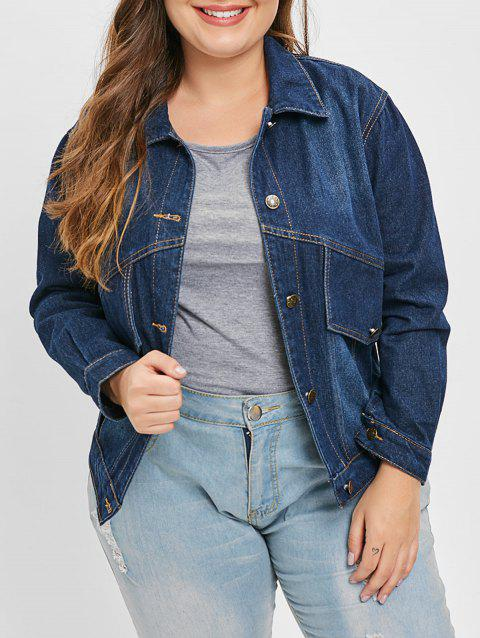 Plus Size Buttoned Denim Jacket - LAPIS BLUE 2X