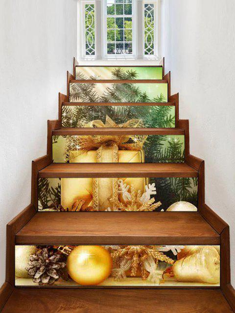 Christmas Gift Balls Pattern Removable Stair Stickers - multicolor 6PCS X 39 X 7 INCH( NO FRAME )