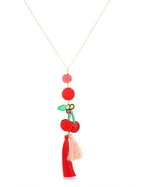 Knitted Ball Cherry Shape Sweater Necklace - GOLD