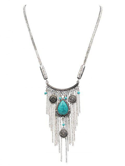 Faux Turquoise Long Statement Necklace - SILVER