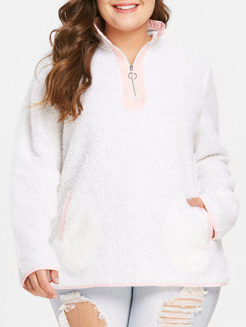 Plus Size Contrast Fuzzy Pullover Hoodie - WHITE 1X