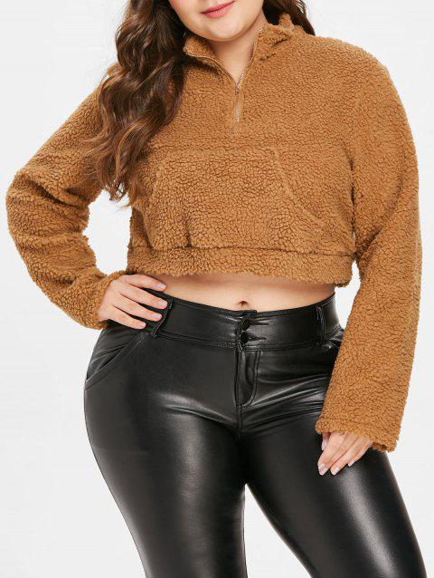 Plus Size Fuzzy Cropped Hoodie