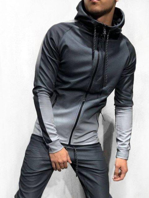 Ombre Print Casual Drawstring Hoodie - GRAY M