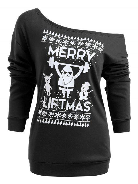 Christmas Santa Print Long Sleeve Top - BLACK L