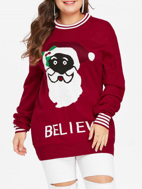 Plus Size Santa Claus Letter Christmas Sweater - CHERRY RED L