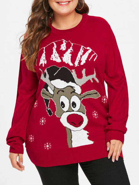 d9d19a8f2b6 41% OFF  2019 Plus Size Elk Graphic Christmas Sweater In RED WINE 2X ...