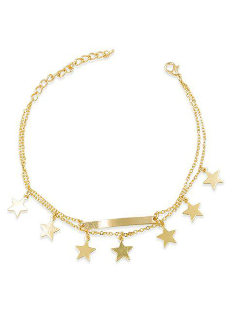 Double Layered Five-Pointed Star Anklet - GOLD