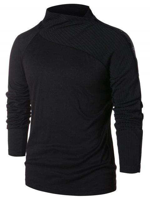 Raglan Sleeve Button Pullover Sweater - BLACK M