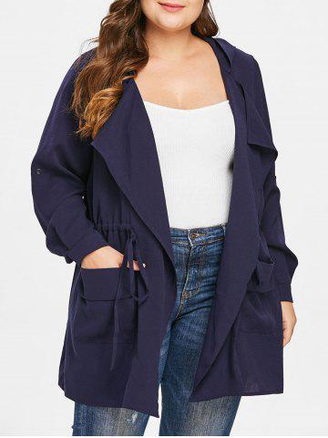 0bf3c47d038 Drawstring Waist Plus Size Front Pockets Hooded Coat