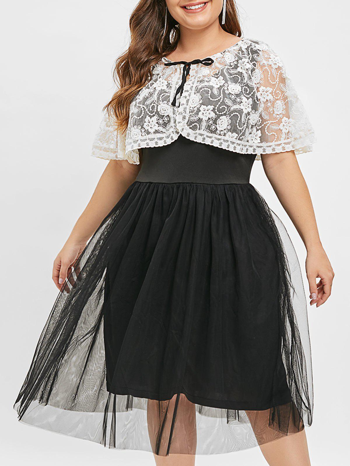 Plus Size Mesh Vest Dress with Embroidery Top - BLACK 3X