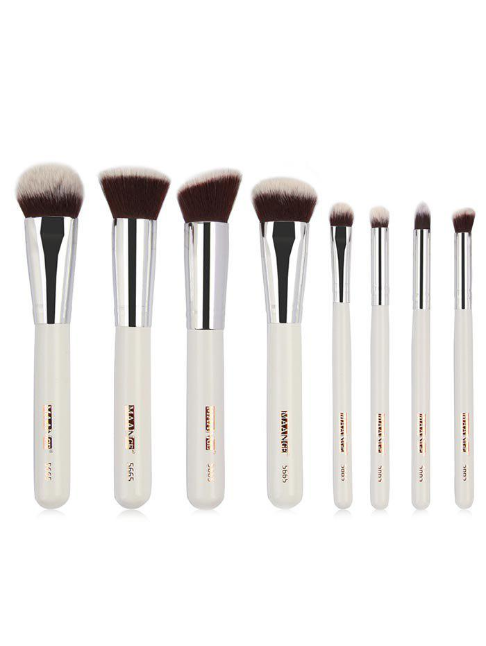 8 Pcs Wooden Handle Soft Hair Travel Cosmetic Brush Set