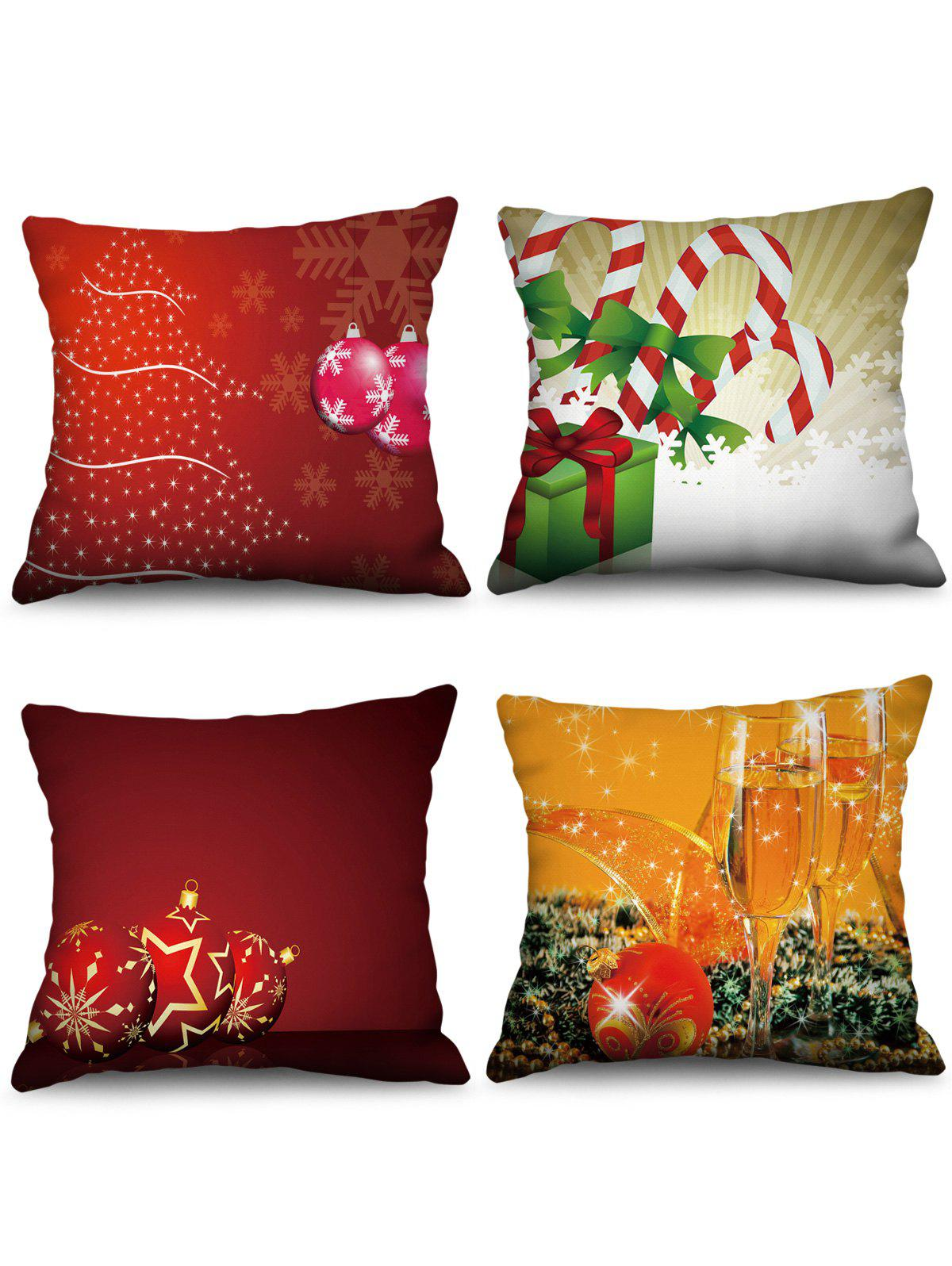 4 Pcs Christmas Balls Print Sofa Linen Pillowcases - multicolor