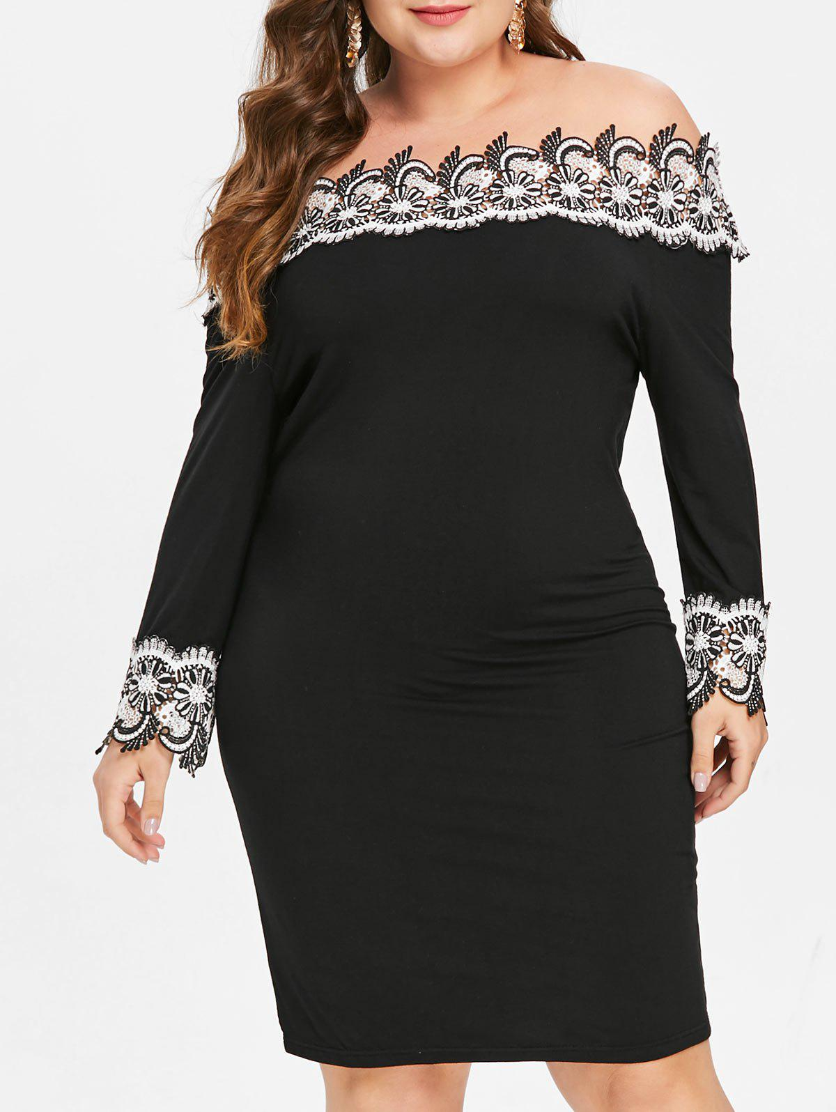 Plus Size Contrast Lace Mini Bodycon Dress - BLACK 5X