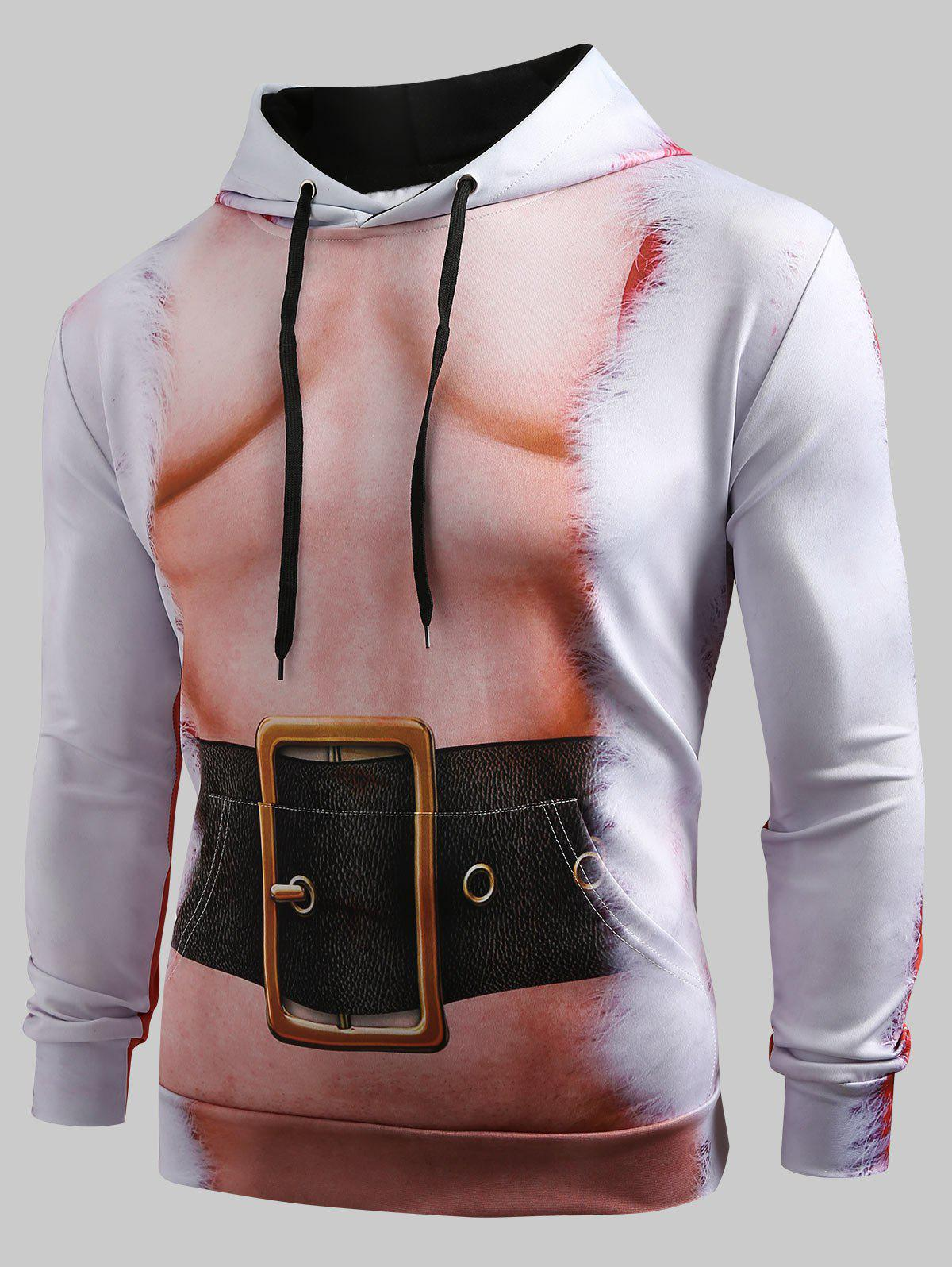 Christmas Belt Naked Belly Print Drawstring Hoodie - multicolor S