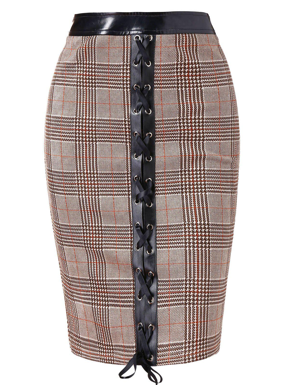 Plaid Lace Up Pencil Skirt - multicolor M