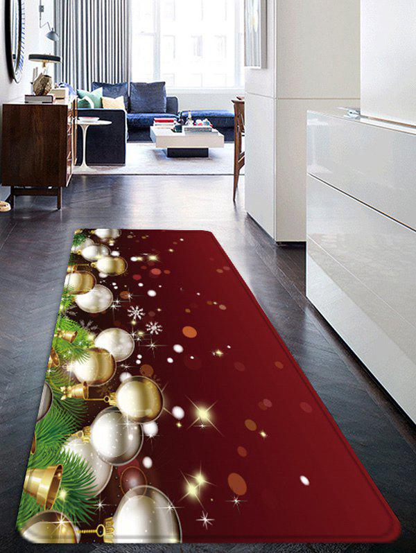 Christmas Balls Pattern Water Absorption Anti-skid Floor Rug - multicolor W16 X L47 INCH