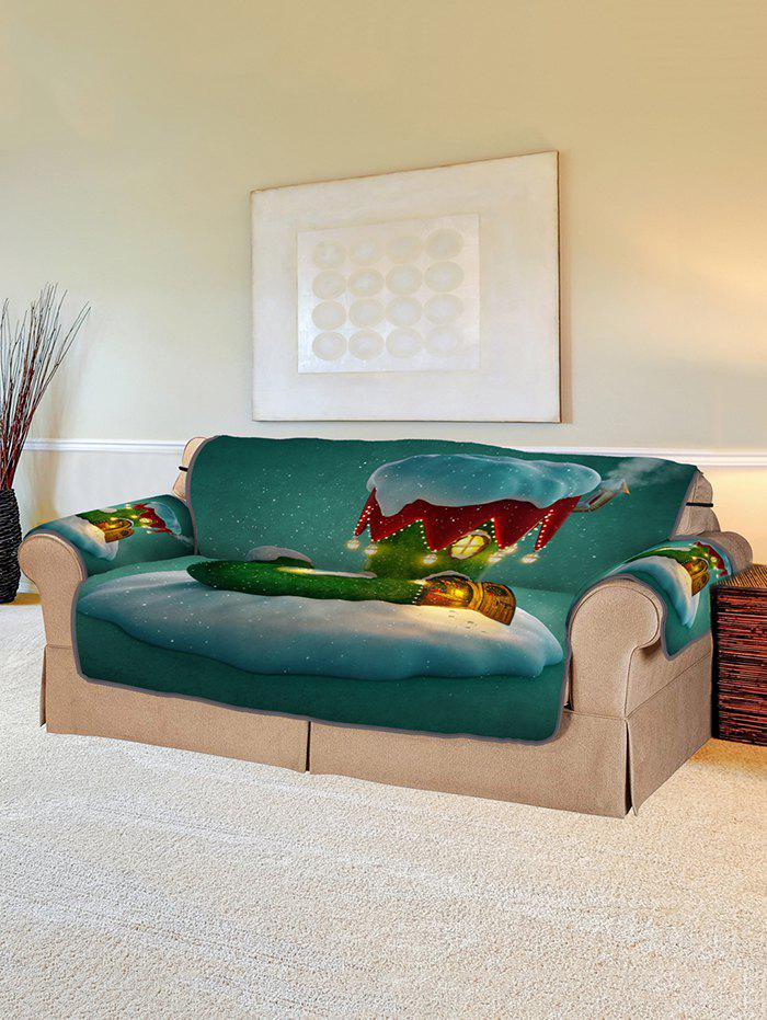 Christmas Boot House Print Couch Cover - multicolor TWO SEAT