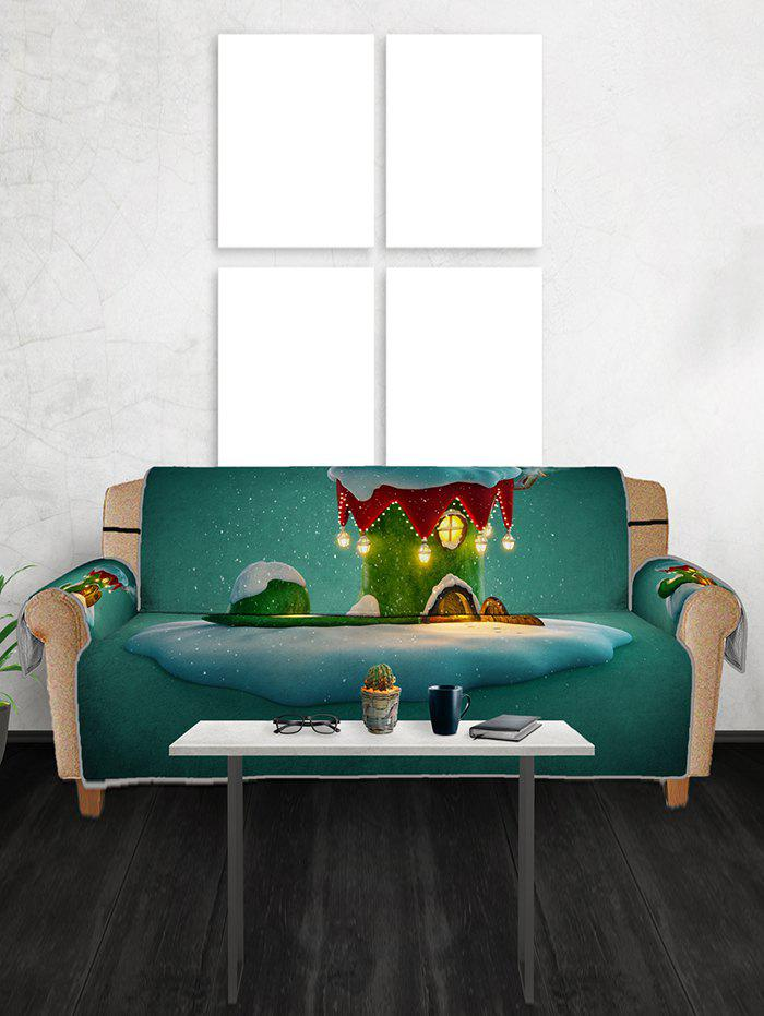Christmas Boot House Print Couch Cover - multicolor THREE SEAT