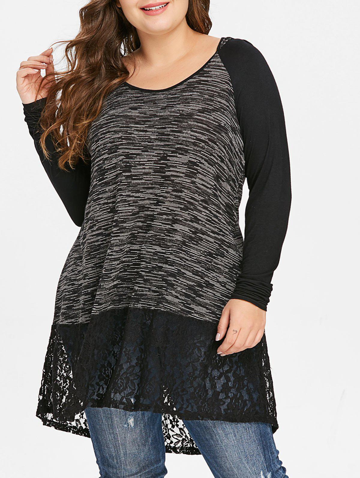 Plus Size Raglan Sleeve Lace Insert Hooded T-shirt