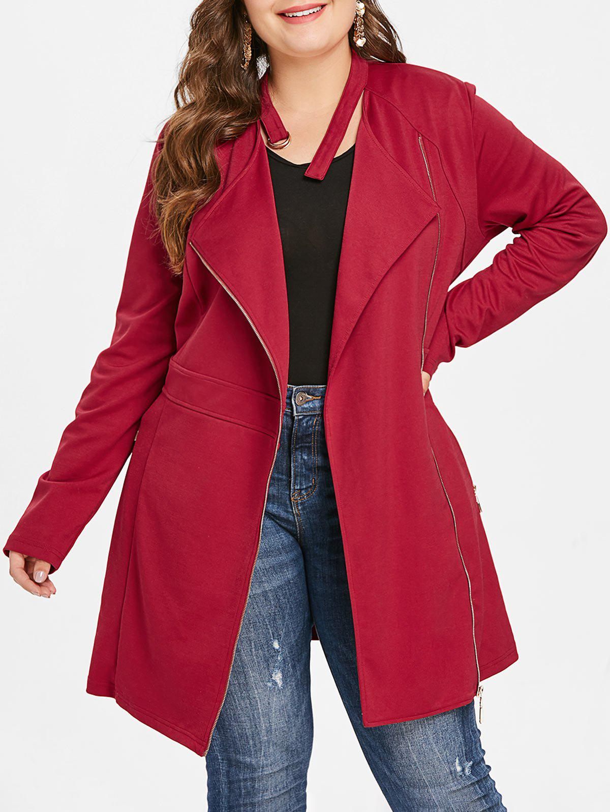 Plus Size Zip Fly Lace Up Coat - RED L