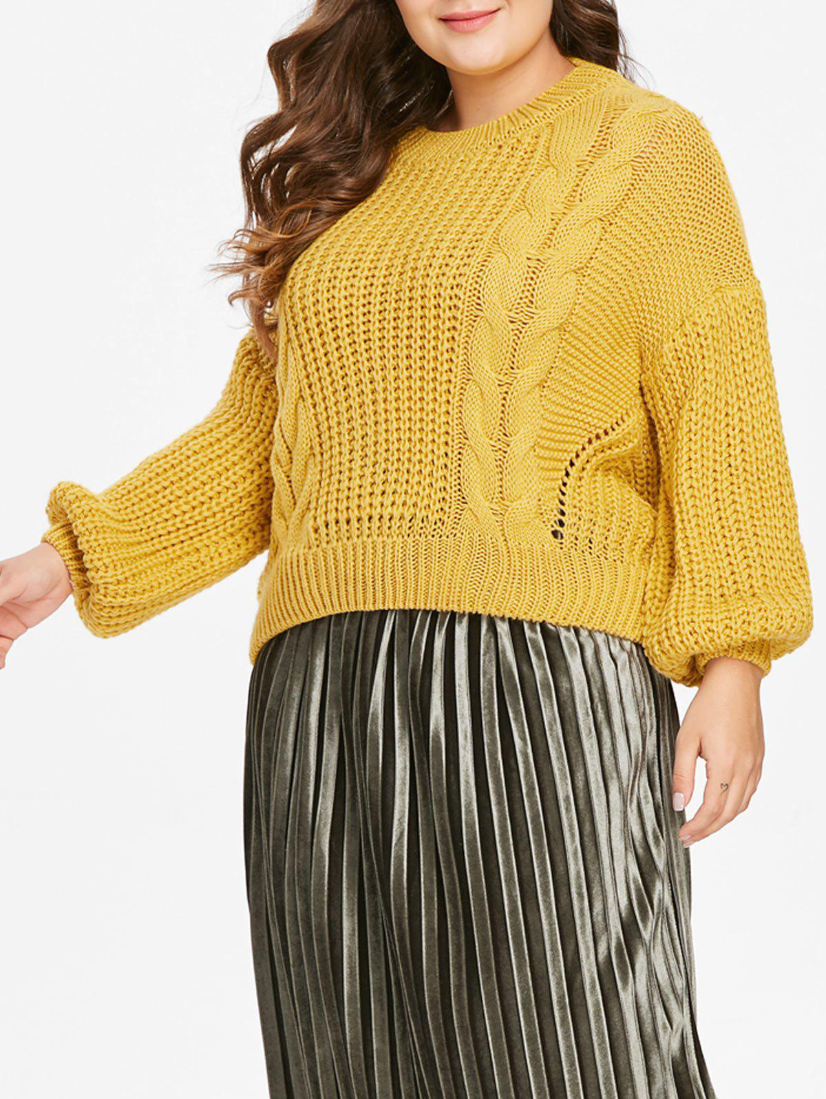 Plus Size Drop Shoulder Cable Knit Sweater - YELLOW ONE SIZE