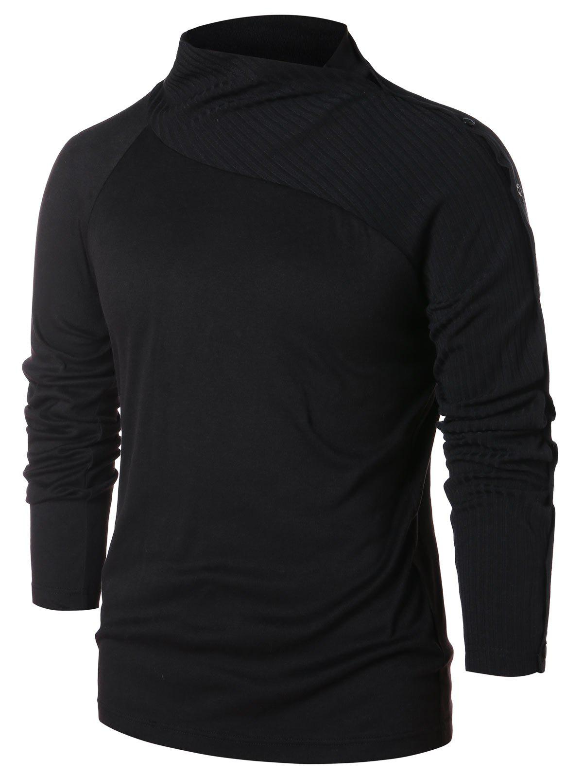 Raglan Sleeve Button Pullover Sweater - BLACK L