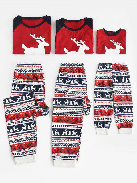 Elk Print Matching Family Christmas Pajama Set - multicolor KID L