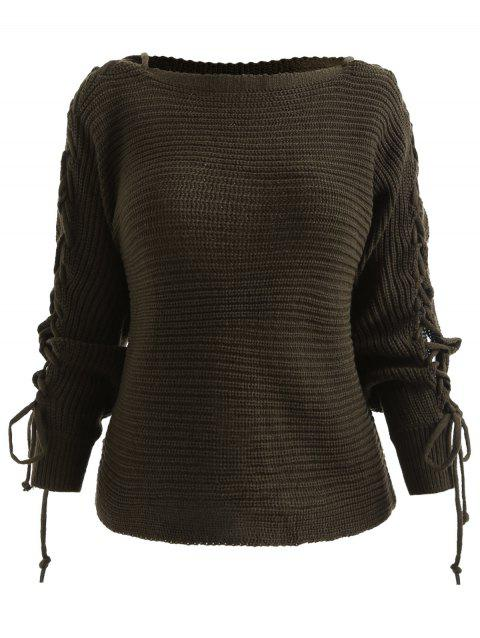 Boat Neck Lace Up Chunky Sweater - ARMY GREEN ONE SIZE