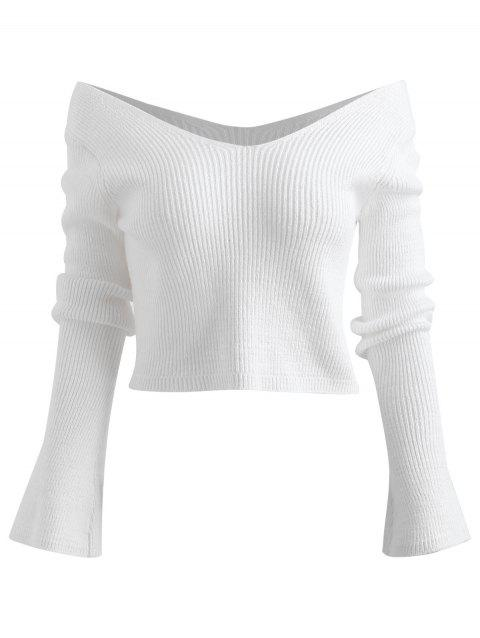 Off The Shoulder Cropped Ribbed Sweater - WHITE ONE SIZE