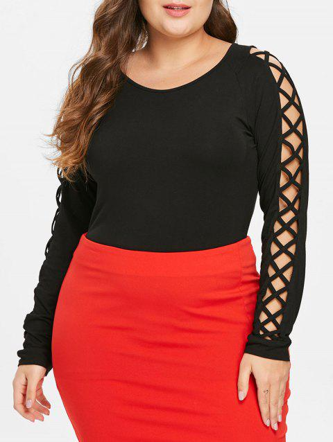 Plus Size Criss Cross Sleeve T-shirt - BLACK 1X