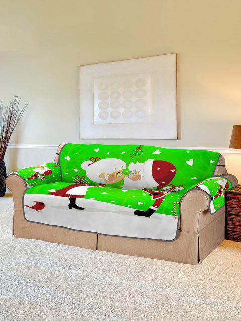 Christmas Santa Couple Pattern Couch Cover