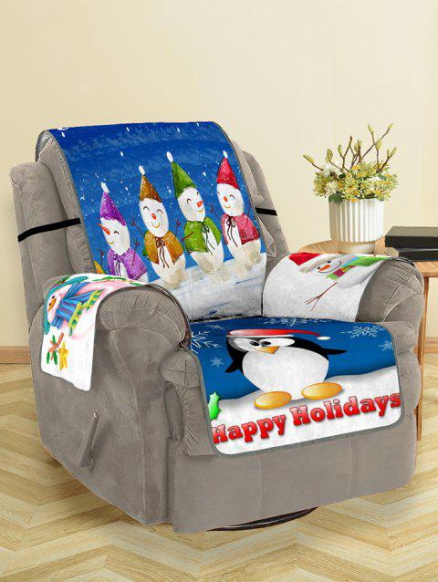 Christmas Snowman Pattern Couch Cover - multicolor SINGLE SEAT