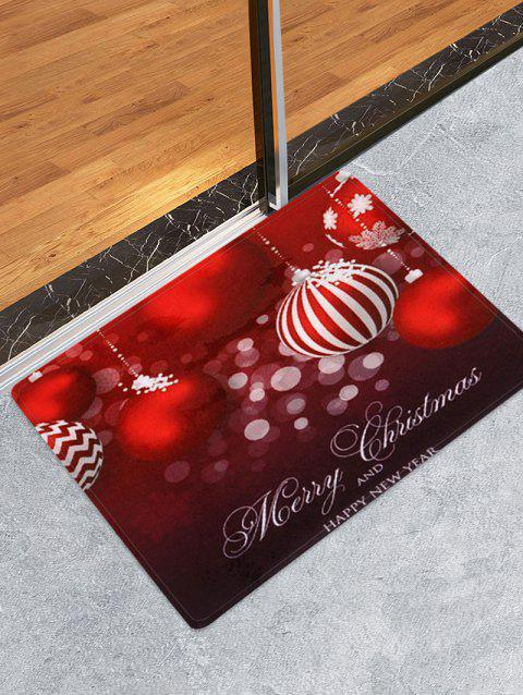 Christmas Ball Printed Coral Fleece Floor Mat - RED W16 X L24 INCH