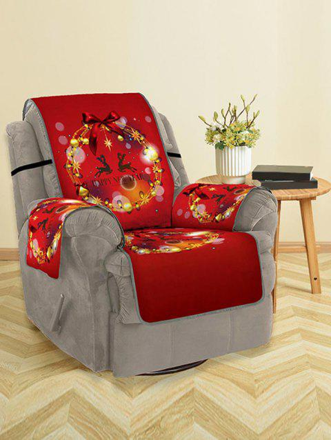 Christmas Ball Wreath Pattern Couch Cover - RED SINGLE SEAT