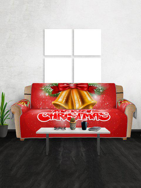 Christmas Bells Pattern Couch Cover - RED THREE SEATS