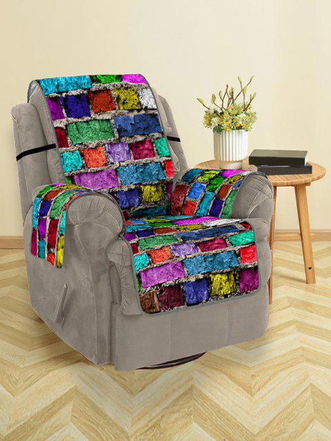 Colorful Brick Wall Pattern Couch Cover - multicolor SINGLE SEAT