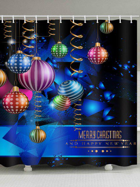 Merry Christmas Ball Printed Waterproof Shower Curtain - BLUEBERRY BLUE W71 X L71 INCH