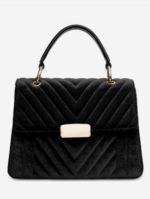 Suede Leather Cover Design Tote Bag - BLACK
