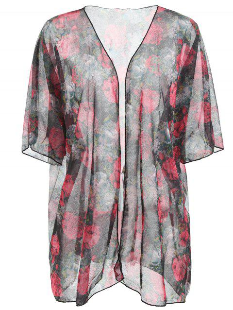 Open Front Flower Cover Up - multicolor ONE SIZE