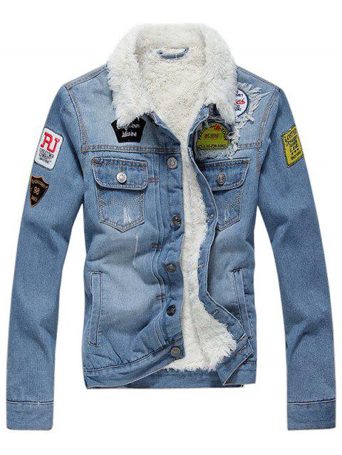 Veste Fourrée Embellie de Patch en Denim à Col Revers - Bleu Koi M