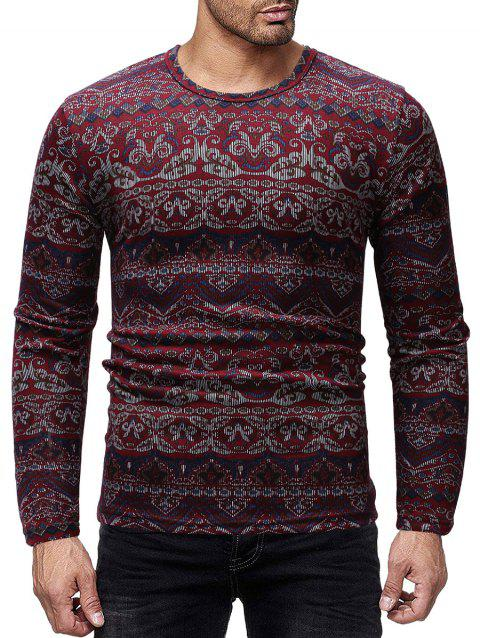 Ethnic Pattern Print Long Sleeves Shirt - RED WINE M