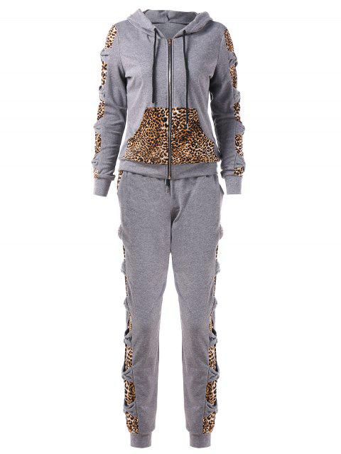 Leopard Print Zip Up Hoodie with Pants Sweat Suits - GRAY XL