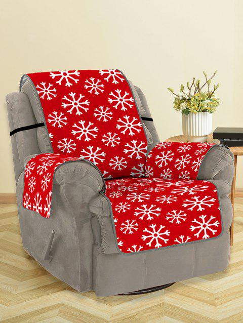 Christmas Snowflake Pattern Couch Cover - RED SINGLE SEAT