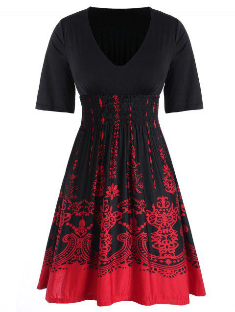 Plus Size Baroque Print Contrast Smocked Dress - BLACK L