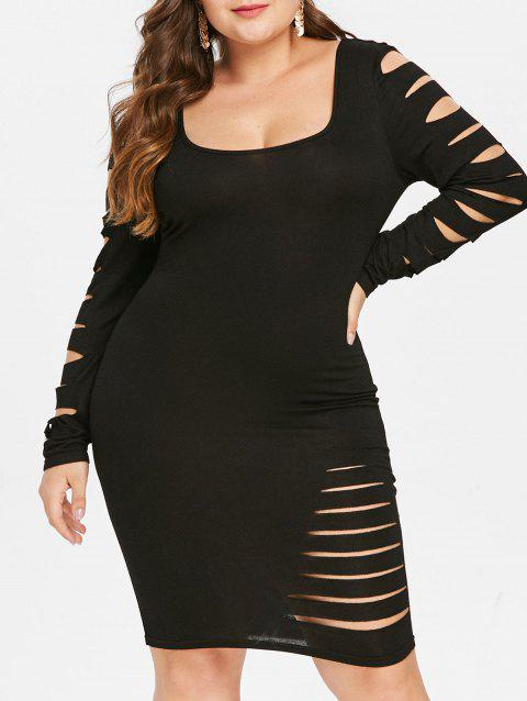 a863529a717 17% OFF  2019 Plus Size Ripped Bodycon Dress In BLACK