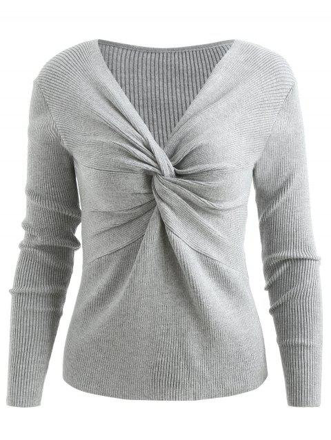 V Neck Front Twist Chunky Sweater - GRAY ONE SIZE