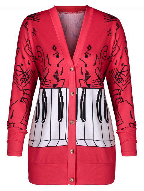 Plus Size Musical Notes Print Coat - RED 4X