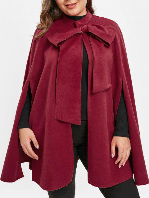 Plus Size Bowknot Christmas Cape Coat - RED WINE 1X
