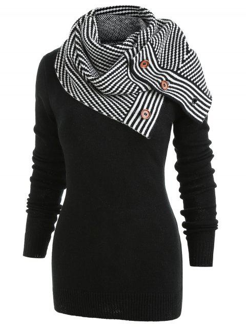 Pullover Sweater with Striped Scarf - BLACK M