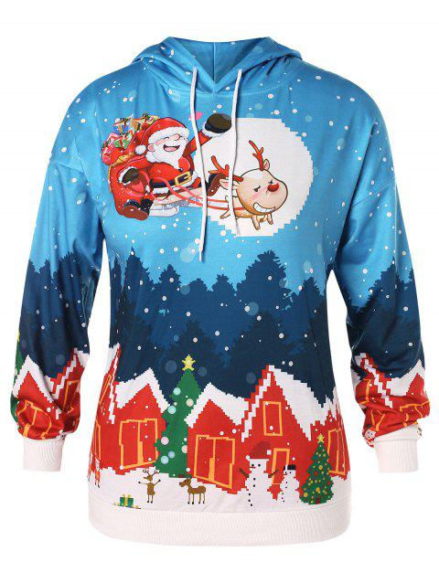 Christmas Plus Size House Santa Clause Print Hoodie - DODGER BLUE 1X